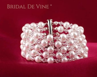 Ivory or White Pearl Bridal Cuff Bracelet with Swarovski Crystals