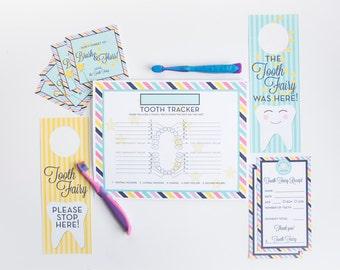 Tooth Fairy Printables - Note, Door Hanger, Stickers, Tooth Chart - INSTANT DOWNLOAD