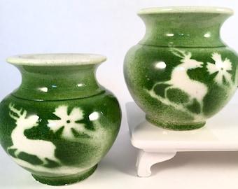 Vintage Turkish Art Pottery Urns   Vases Green and White Glaze   Deer and Flower Motif   Kutahya Turkey SET OF TWO