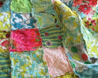SALE rag quilt THROW - reversible - Ready To Ship