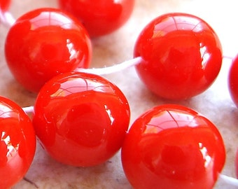 Czech Glass Beads 8mm Opaque Orange Smooth Rounds - 12 Pieces