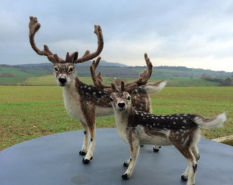 NOW SOLD ...Pair of Needle felted reindeers