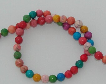 10 pearls 8 mm natural howlite multicolored