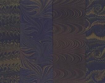 Hand Marbled Paper Set: 4 Sheets 8x11 (Dark Metallics)