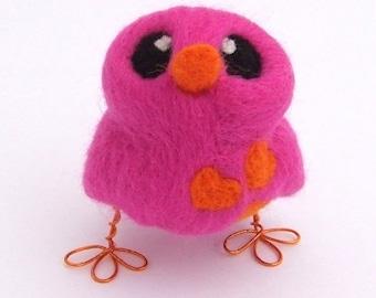 Needle Felted Bird Pink and Bright Orange Love Bird Tweet