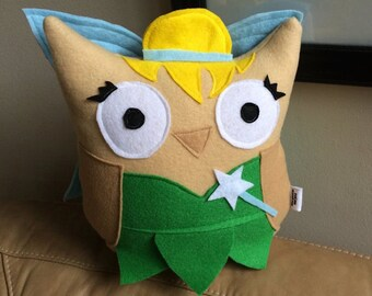 Tinker Owl Plushie- Inspired by Tinkerbell- Owl Fairy- Inspired by Peter Pan- Plush Tinkerbell owl
