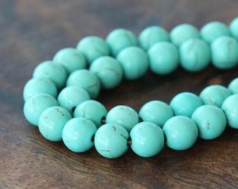 Magnesite Beads, Light Teal, Veins, 8mm Round - 15 inch Strand - eGR-MG002-8