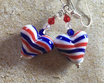 4th of July Jewelry, 4th of July Earrings, Red, White and Blue Earrings, Lampwork Earrings, Lampwork Jewelry, Patriotic Jewelry