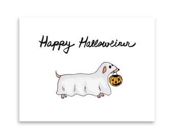 Halloween Card / Cute Halloween Card / Halloween Dog Card / Daschund Gift / Doxie Gift Idea / Blank Card / Funny Dog Card / Misha Marie Art