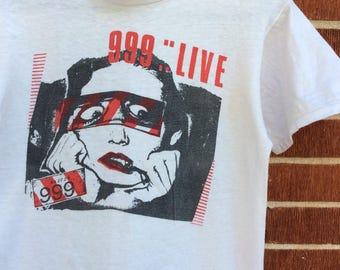 Vintage 80s 999 punk band shirt SMALL single stitch paper thin RARE
