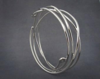 Sterling Silver Diamond Twig Bangle, Free Form Bangle Bracelet, One of a Kind, Ready to Ship Bracelet