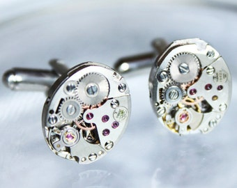 TISSOT Luxury Steampunk Cufflinks - Matching Swiss Silver Vintage Watch Movement Men Steampunk Cufflinks Cuff Links Fathers Day Gift for Men