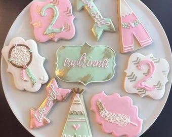 Boho Chic Birthday Cookies / One Dozen