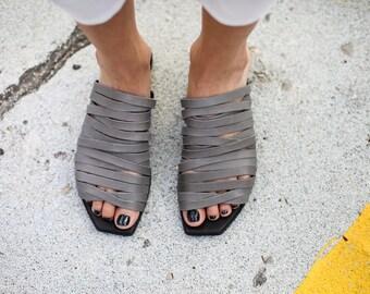 SALE, Strappy Sandals, Grey Leather Sandals, Summer Shoes, Grey Summer Flats, Slide Sandals, Handmade Sandals, Grey Sandals, Sophie