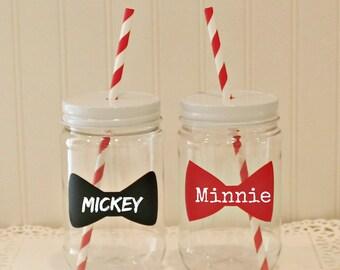 Plastic Mason Jars, 6 Plastic Mason Jars with Straw Hole Metal Lids, Disney Cruise Ship Favors, Mickey / Minnie Party, Fish Extender Gift