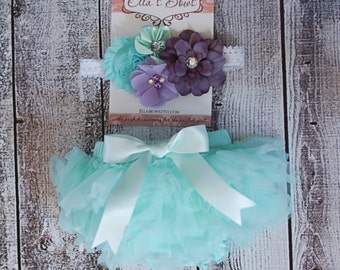 Baby TUTU bloomer and Shabby Chic Floral Headband...Hair bow and Diaper Cover...custom sizes available