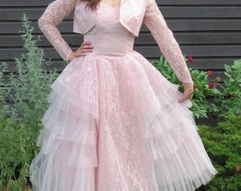 1950s pink prom dress/ 1950s pale pink formal dress/ vintage dress