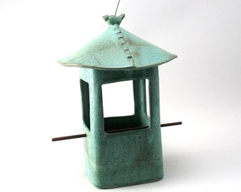 Bird Feeder, Ceramic Bird Feeder, Ceramic Bird, Teal