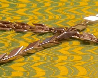 Heavy Silver Arrow Chevron Eternity Choker Necklace 15 1/2 inches