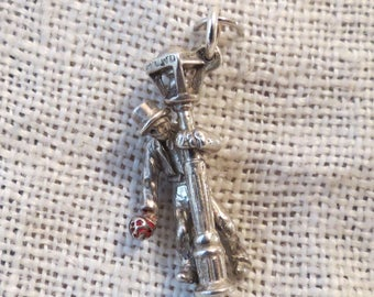 Hollywood & Vine Lamppost, Inebriated Man with Red Bouquet Sterling and Enamel Charm