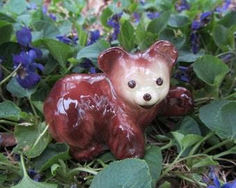 Vintage Bear with Raised Paw Figurine Brown Ceramic Bear