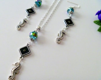 Nautical Seahorse Charm And Crystal Beaded Necklace and Earrings Set