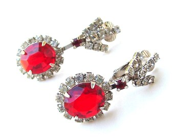 Royal Ruby Red Vintage Rhinestone Dangle Earrings, Glass Stones Faux Diamond Festive for Holiday and Red Jewelry Lovers