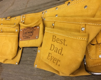 Fathers Day Gifts for Dad - Custom Tool Belt for Father - Best Dad Ever - Suede Leather Personalized Toolbelt