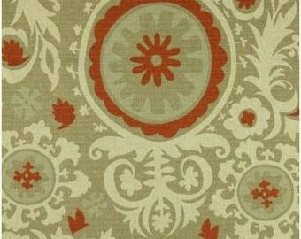 SALE Suzani Upholstery Fabric by the YARD home decor curtain pillow runner drapes khaki green rust orange Arizona Denton Premier Prints SHIP