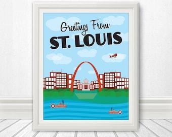St. Louis, St. Louis Skyline, St. Louis Silhouette, St. Louis Print, St. Louis Art, St Louis, St. Louis Poster, St. Louis Art, Spirit