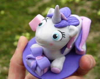 Personalized unicorn cake topper, Unicorn figurine, Gift for girls, Unicorn birthday party, Birthday cake topper, Birthday purple unicorn
