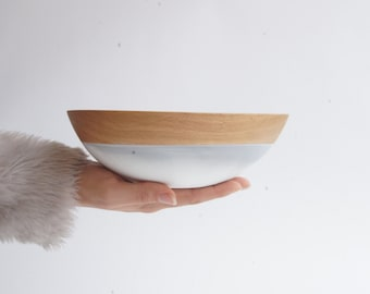 "8"" Beech Wood Bowl, white and grey swirl by Wind and Willow Home, best friend gift, wedding gift, wooden bowl, wedding gift, foodie gift"