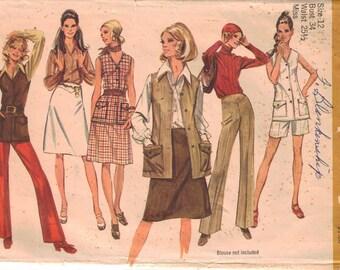 CLEARANCE Vintage Pattern Pants, Vest, Skirt  Size 12 bust 34   uncut  Simplicity 9512