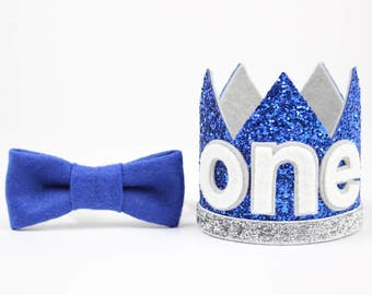 First Birthday Outfit Boy Crown   Baby Boy Birthday Party Hat   First Birthday Glitter Crown   1st Birthday Hat   Royal Blue + Silver ONE