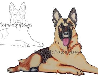 Digital Stamp.(Digi stamp)  German Shepherd Dog (Alsation Dog) stamp. Cardmaking. Craft Supplies, Instant download.dog art. Fuzzylug Stamp