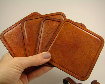 Coasters set Leather, Coffee coasters set, Leather Set of coasters, Clean minimal and simple,winter gift for wife,square coasters