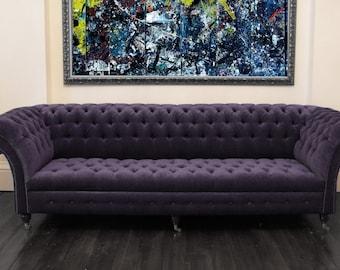 Handmade Modern Velvet 4 Seater Velvet Chesterfield Sofa - Various Colours