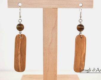 Handmade Italian Olive wood and tiger eye earrings