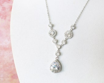 Corinne - Bridal Necklace Sparkly Luxe Cubic Zirconia Necklace White Crystal Teardrop Pendant Bridesmaid Silver white Wedding Jewelry