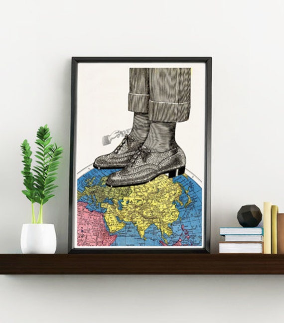 The world at your feets Art Print vintage Map, Oxford shoes Illustration,Giclee print,Print art Traveller gift TVH119WA4