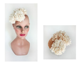 bibi romantique paille, fascinator mariage fleur, pillbx cérémonie, peigne cheveux mariée, chapeau femme mariage