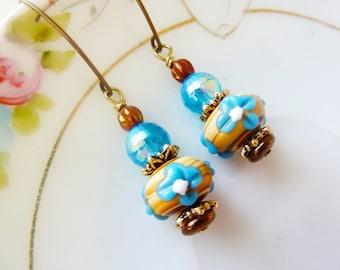 Blue Flower Earrings, Lampwork Bead Earrings, Brown Earrings, Pretty Floral Earrings, Blue Drop Earrings, Handmade by KreatedByKelly