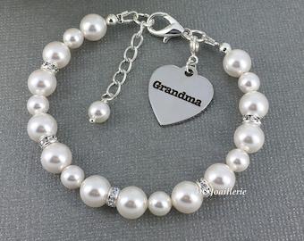 Gift for Grandma Swarovski Pearl Bracelet Grandma Charm Bracelet Grandmother Gift White Pearl Jewelry Swarovski Pearl Jewelry