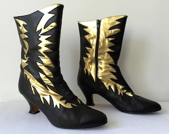 Vintage RARE 80s 1980s Black Leather Boots Heels Metallic Gold Lightning Bolt Detail Shoes Size 8 90s 1990s 80s 1980s Ankle Boots Glam Punk