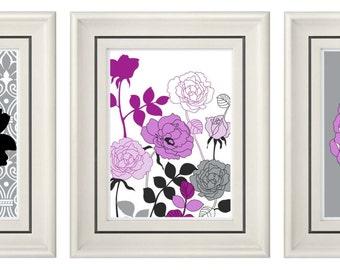 Set of Three Modern Purple/Gray Art Print (Unframed)