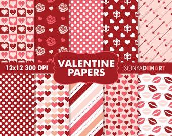 80% OFF SALE Digital Paper Valentine's Day Pattern's