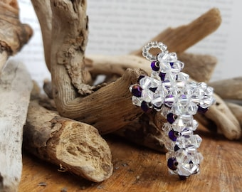 Clear and purple bicone cross pendant