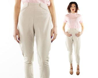 Vintage 70s Riding Pants Equestrian Jodphurs Tan High Waisted Trousers 1970s XS xsmall Cropped Capri Christenfeld