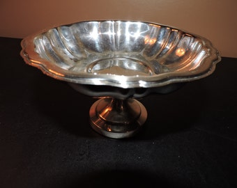 Oneida Silver Plate Pedestal Candy Dish Made in USA Shiny Vintage Patina