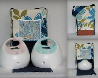 Half Size Alana style Spectra Breast pump bag in Monaco Breeze with Rust vinyl accents